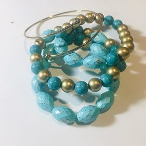 Sinkiang Beaded Bracelet and a gold bangle